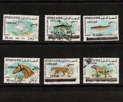 IRAQ 1972 SELECTION OF SURCHARGED OFFICIAL STAMPS (ANIMAL SERIES, OVERPRINTED)