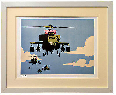 """Banksy Framed """"Helecopter"""" print in White Frame With Double Ivory Mount"""