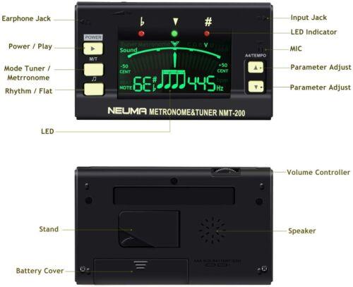 NEUMA Metronome Tuner for Guitar, Bass, Violin, Ukulele, Chromatic Instruments,