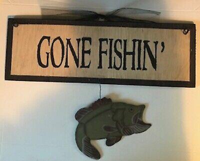 GONE FISHIN metal FISH lodge cabin fisherman country decor fishing wood sign  (Fishing Decor)