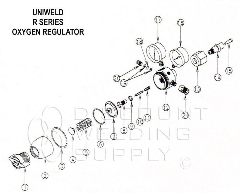REPAIR KIT W/ DIAPHRAGM-UNIWELD RO ROB R SERIES OXYGEN REGULATOR REBUILD-AURORKD