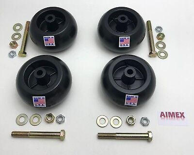 4 USA MADE Craftsman Deck Wheels+Kits For 133957 , 193406 , 174873. MTD 734-3058