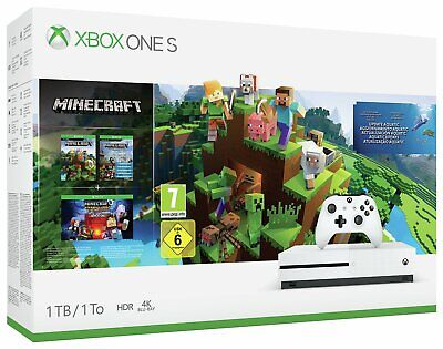 Microsoft Xbox One S 1TB Console with Minecraft Collection Bundle - White