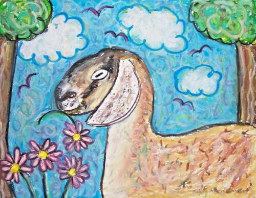 goat in garden art print 5x7, Nubian, animal artist Kimberly Helgeson Sams