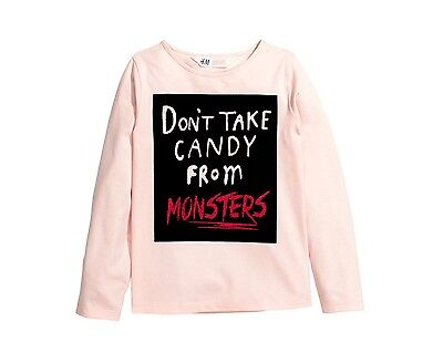 H M Girl T Shirt Top- Halloween Dont Take Candy From Monsters Size 8 9 10 New