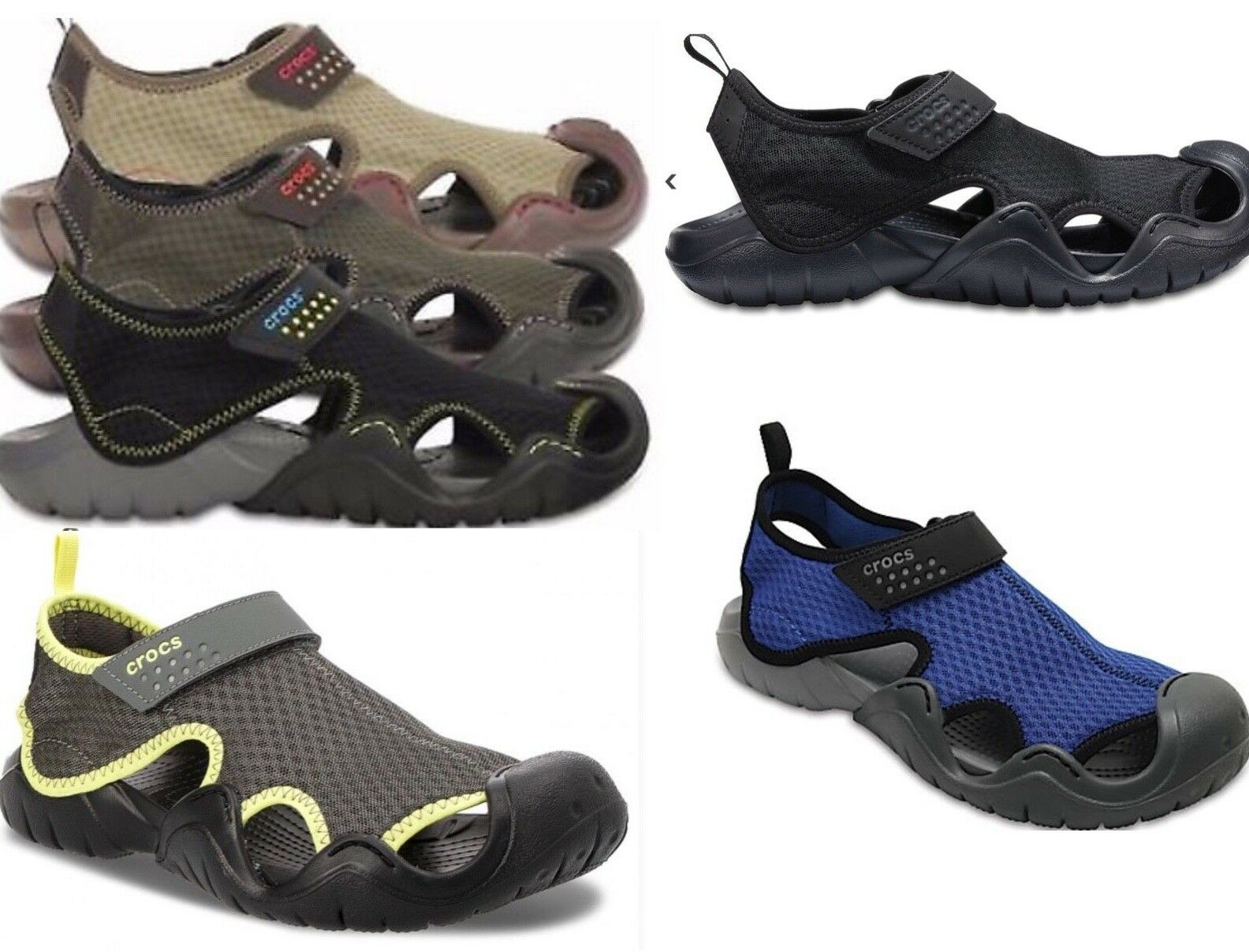 Men's CROCS SWIFTWATER  Sandals  BLACK, ESPRESSO BROWN,  GRE