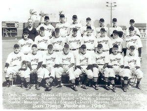 1940 SAN DIEGO PADRES PCL TEAM 8X10 PHOTO  BASEBALL CALIFORNIA ANTIQUE