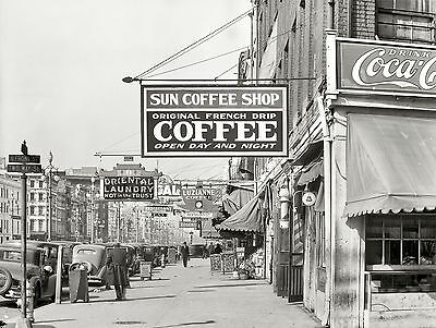 New Orleans Street View, 1935, Coffee Shop, Antique Photo / Print, 14