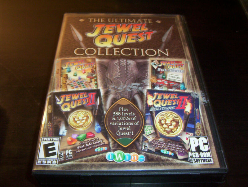 THE ULTIMATE JEWEL QUEST COLLECTION PC CD ROM SOLITAIRE II 4-IN-1 GAME XP VISTA