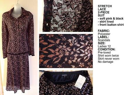 Ladies negligee gown dressing gown long black stretch fabric lace ...