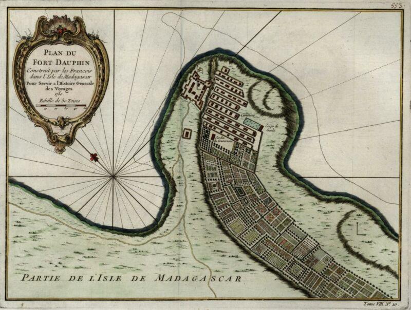 Africa Fort Dauphin Madagascar island coast 1750 Bellin city plan hand color
