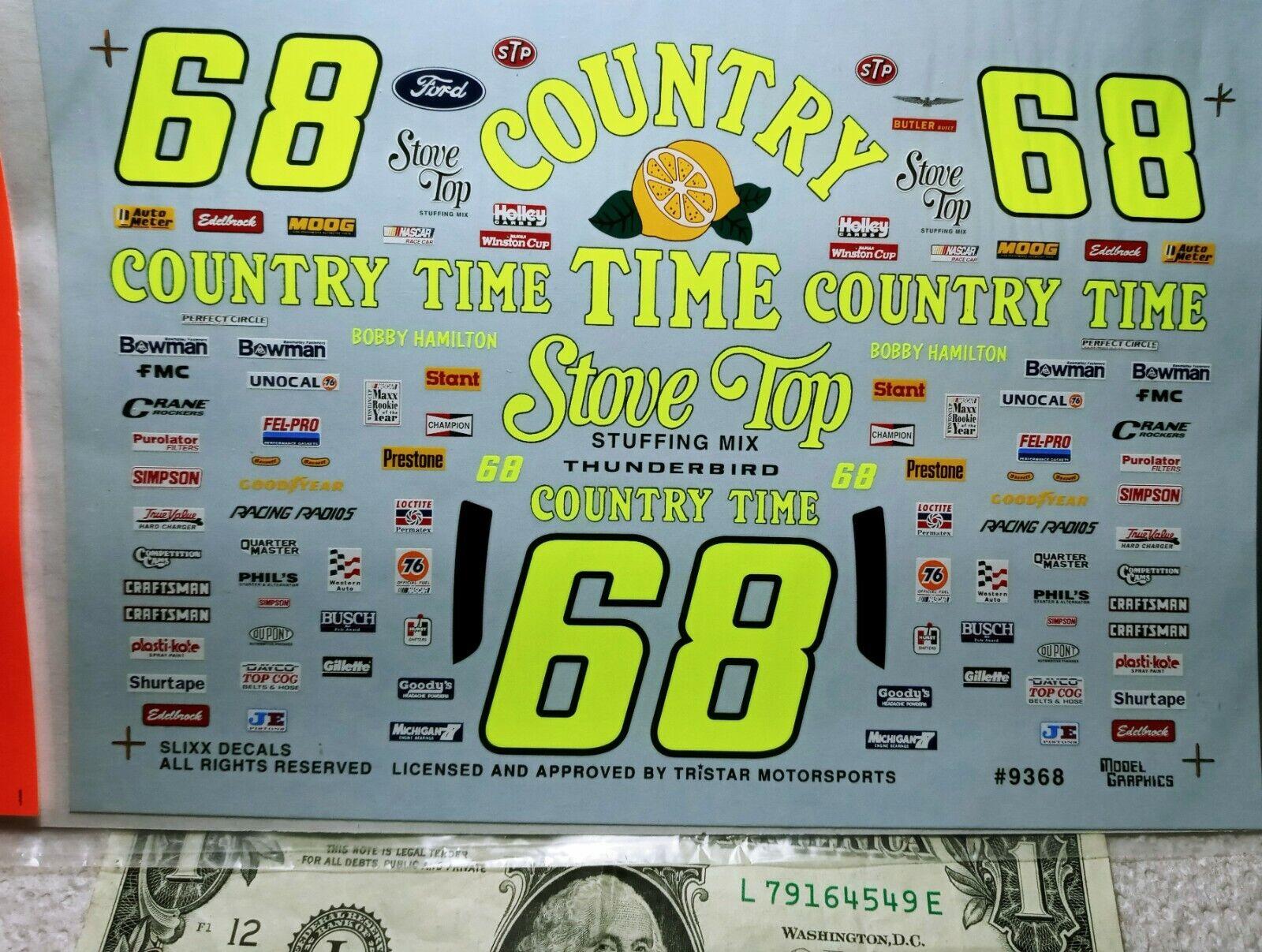SLIXX WATERSLIDE DECALS 1/24 1:24 Scale Vintage NASCAR #68 Country Time Lemonade