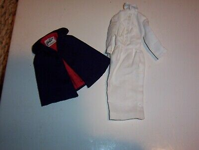 Vintage Barbie Registered Nurse White Pencil Sheath Dress and Cap Set Outfit