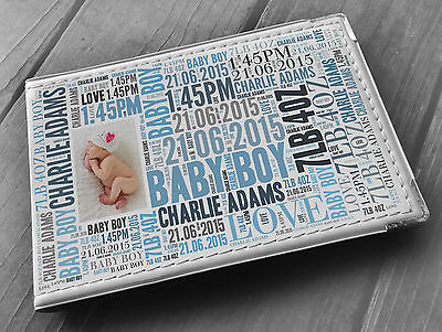 Personalised faux leather photo album, memory book, newborn baby boy present