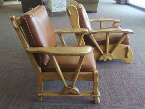 Pair of Roberti Brothers California Rancho Lounge Chairs 1930