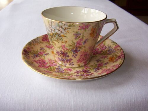 """Lord Nelson Ware England """"Heather"""" Cup Saucer 2750 Chintz"""