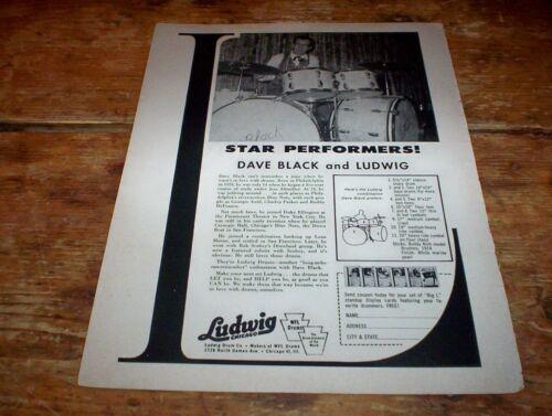 DAVE BLACK ( LUDWIG DRUMS ) ORIG 1958 U.S. Vintage Jazz magazine PROMO Ad NM-