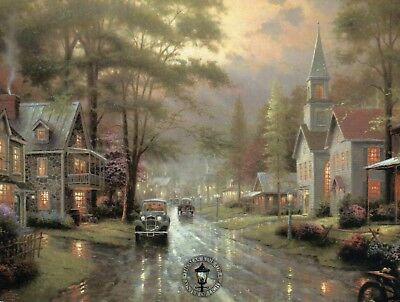 Hometown Evening -- Painter of Light Art Card -- Thomas Kinkade Dealer Postcard