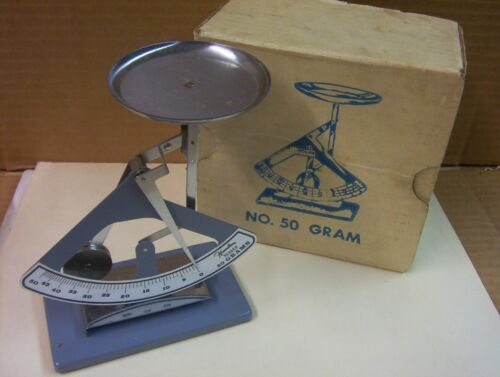 HAMILTON SPECIALTIES SCALE 50 Gram/1.75 Ounce w/Weights Original Box Made in USA