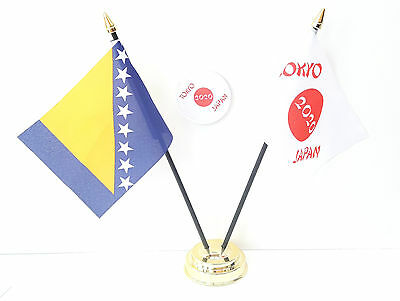 Bosnia and Herzegovina & Tokyo Japan Olympics 2020 Desk Flags & 59mm BadgeSet