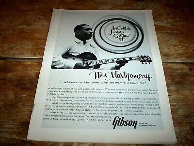 WES MONTGOMERY jazz guitar ( GIBSON GUITARS ) 1963 Vintage magazine PROMO Ad NM-