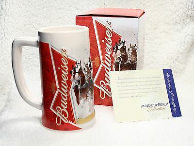 Budweiser Limited Edition Christmas Holiday Collectable Stein Mug 2012 NIB w/COA