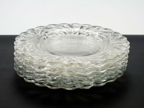 Cambridge Caprice Crystal Luncheon Plates 6 pc Set, Vintage Clear Salad 8 1/2""