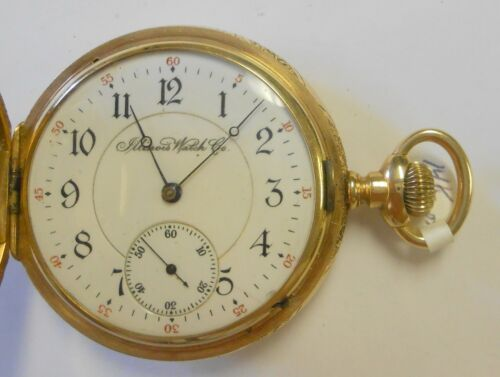 Antique Illinois 14K Yellow Gold Hunting Case Pocket Watch #1587001 Lever Set