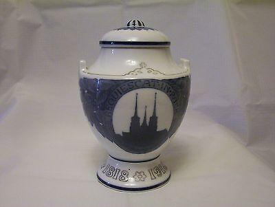 Royal Copenhagen 1918 vase commemorative  King Christian IX birth, blue & white