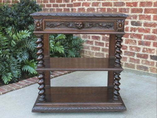 Antique French Oak Dessert Server Barley Twist Renaissance Sideboard Buffet