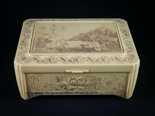 Celluloid Dresser Jewelry Box w Oriental & Lotus Flowers Vintage Mirrored 10x8x4