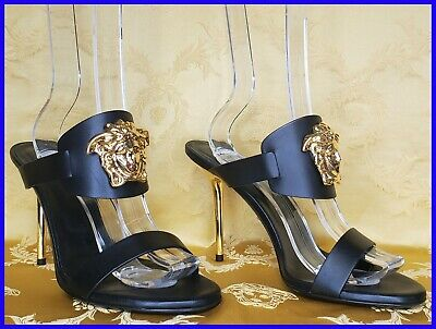 VERSACE BLACK LEATHER SANDALS SHOES HIGH HILL GOLD MEDUZA 39.5 - 9.5