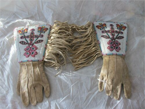 Antique Native American Plateau Plains Fully Beaded Hide Gauntlet Gloves 1900