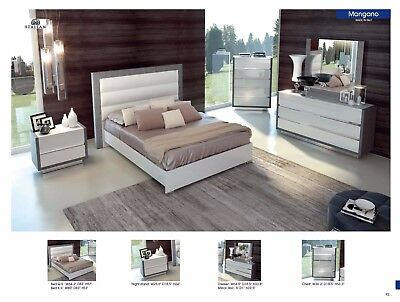 ESF Mangano Milky Gloss Silver Finish Queen Bedroom Set, Made in Italy 5 Pieces