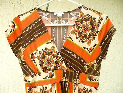 BODY CENTRAL M L HALLOWEEN HIPPY COSTUMN FLORAL ORANGE STRETCH TOP BLOUSE WOMEN](Central Halloween)