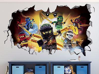Lego Ninjago Wall Decal Sticker Vinyl Decor Door EXTRA LARGE Smashed Mural R02 - Lego Decor