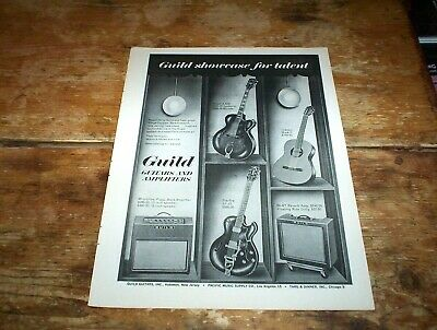 GUILD GUITARS and AMPS ( STARFIRE / REVERB ) 1960s Vintage magazine PROMO Ad NM-