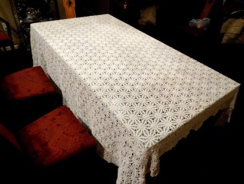 "New Excellent Antique Hand Crochet Ivory Cotton 96"" x 90""  Banquet Tablecloth"