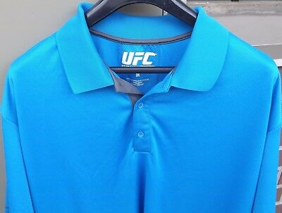 UFC Mens Blue Athleisure Three Button Casual Polo Short Sleeve Shirt Size 3-XL for sale  Scarborough