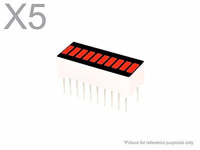 5 Pcs Red Led 10-segment Bargraph Array Display New Bright Bar Graph