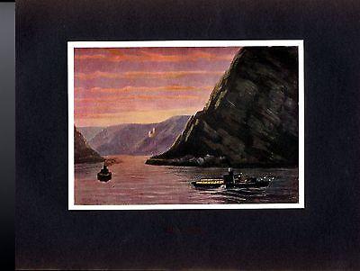 Maler Fr. Kuhlmeyer München Die Lorelei am Rhein um 1910