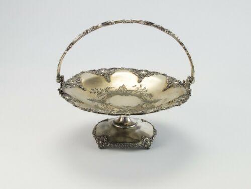 Homan Silver Cake Brides Basket Shell Medallion Floral, Antique Quadruple Plate