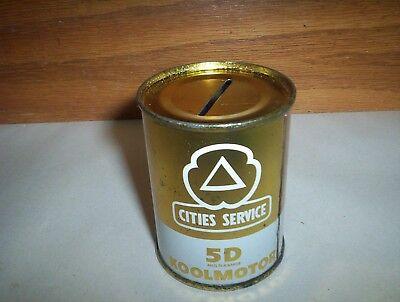 "Vintage Cities Service 5D Multi-Range KOOLMOTOR Oil Gold Coin Tin Bank 2 1/2"""