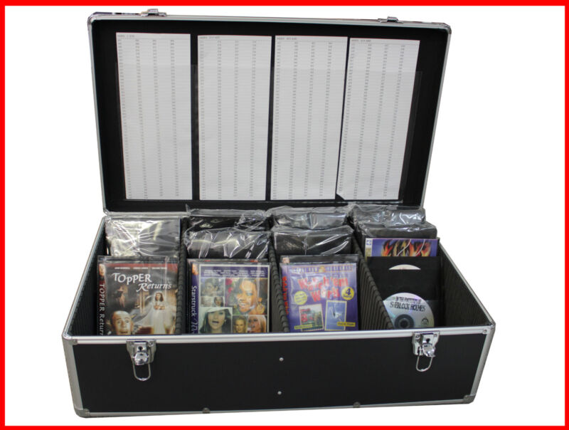 New Aluminum 840 Discs Movie Storage Mess Free case DVD Blu-Ray w Sleeves Black