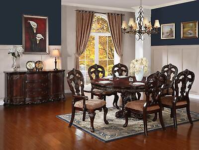 Old World Cherry Brown 7 piece Dining Room Set - Round Oval Table & Chairs IC5U
