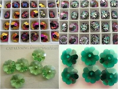 6 10mm Swarovski Margarita Spacer Beads 3700 Volcano Vitrail Peridot Emerald Margarita Bead Emerald