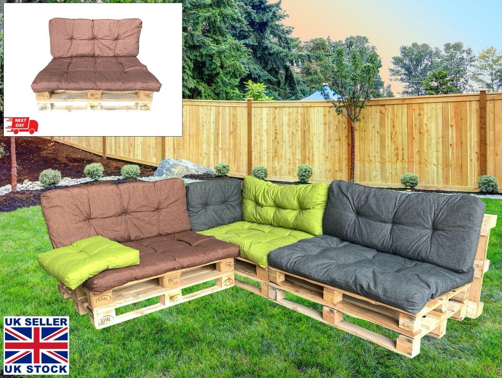 Garden Furniture - Garden Patio Pallet Furniture Cushion Seating & Backrest Set Reversible Seat Pad
