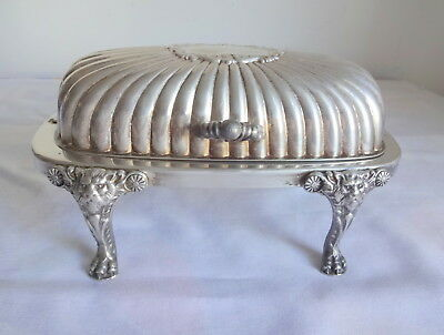 Antque Ornate Silver Plate Covered Butter Dish w Tray Glass Leon Footed Roll Top