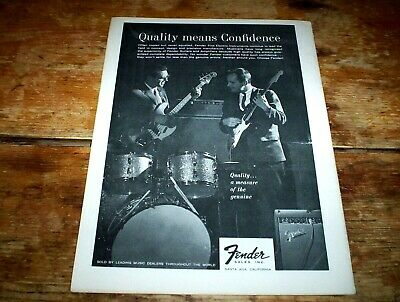 FENDER GUITARS ( PRECISION BASS / STRAT ) 1963 Vintage Magazine PROMO Ad NM-