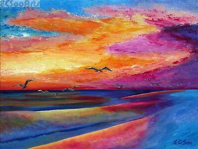 "Original Acrylic Painting of Seascape ""Romantic Memory"", Artist Signed, Beach"
